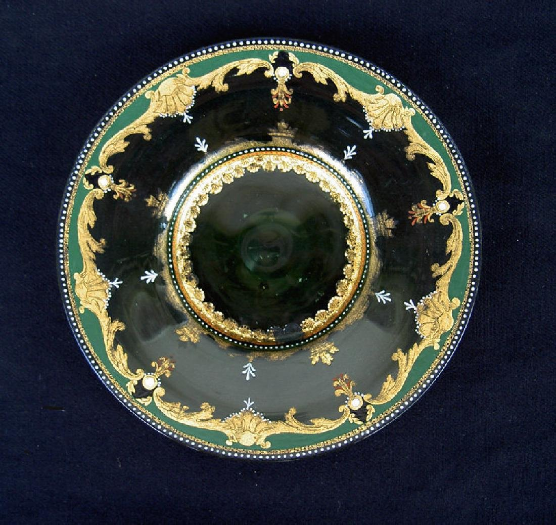 Enamelled & gilt glass dish, probably by Moser, 19th C