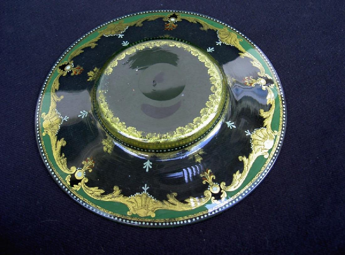 Enamelled & gilt glass dish, probably by Moser, 19th C - 4