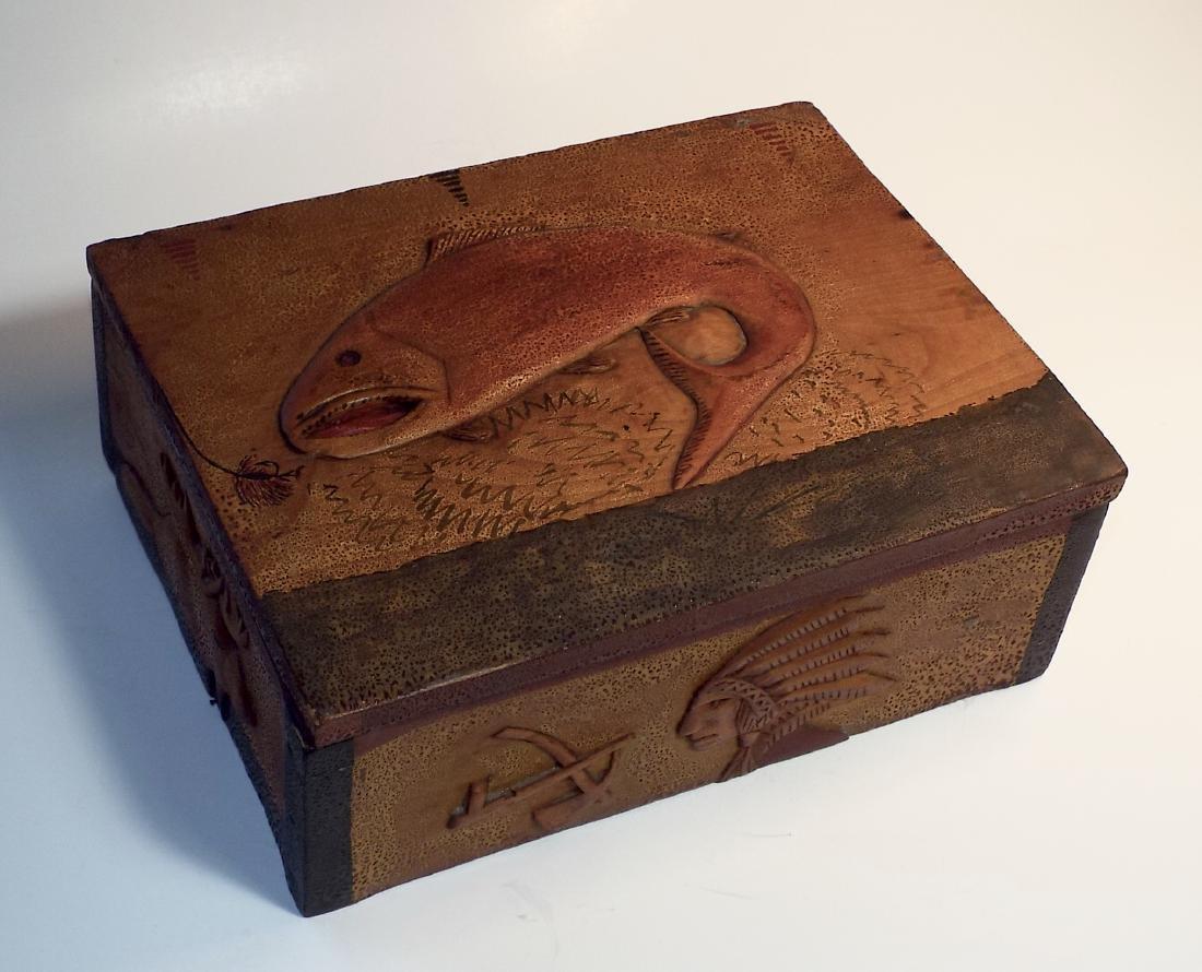 Folk Art Wooden Box w/ Cabin Theme - 10