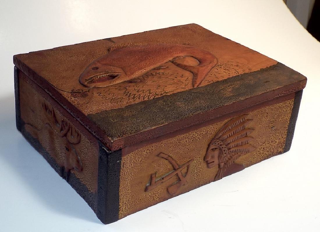 Folk Art Wooden Box w/ Cabin Theme