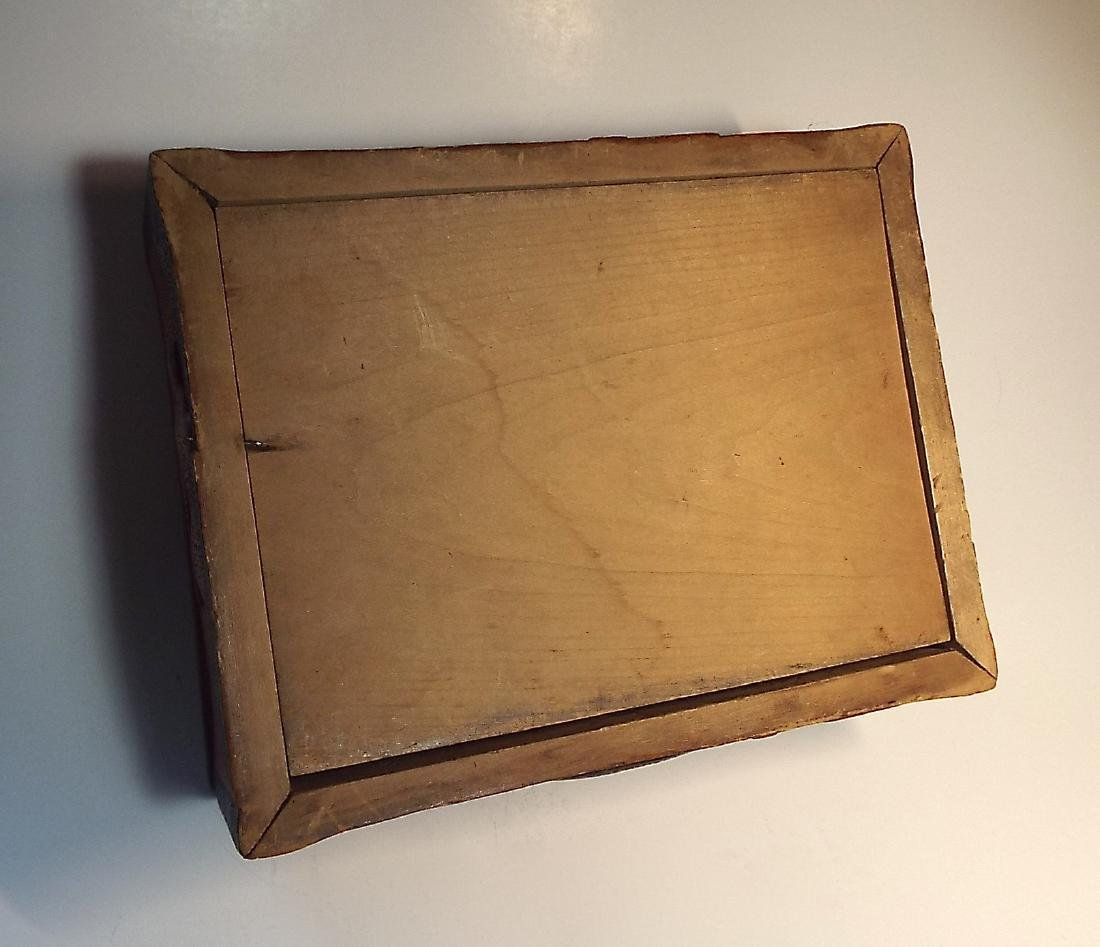 Folk Art Wooden Box w/ Cabin Theme - 2