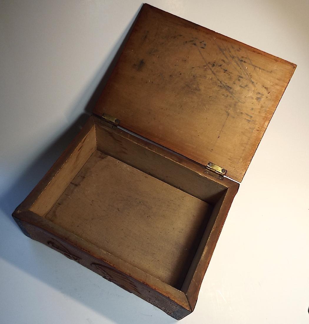 Folk Art Wooden Box w/ Cabin Theme - 3