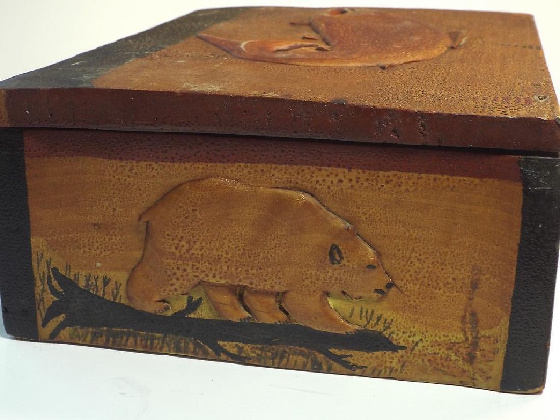 Folk Art Wooden Box w/ Cabin Theme - 4