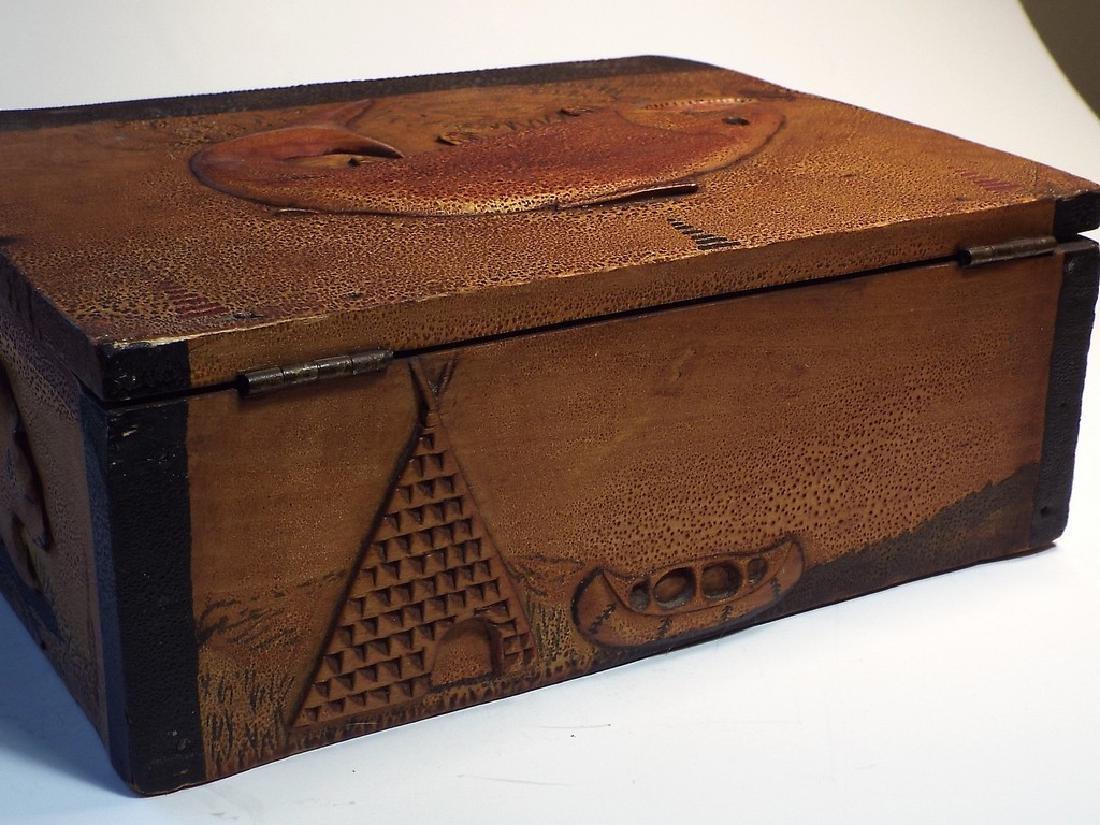 Folk Art Wooden Box w/ Cabin Theme - 5
