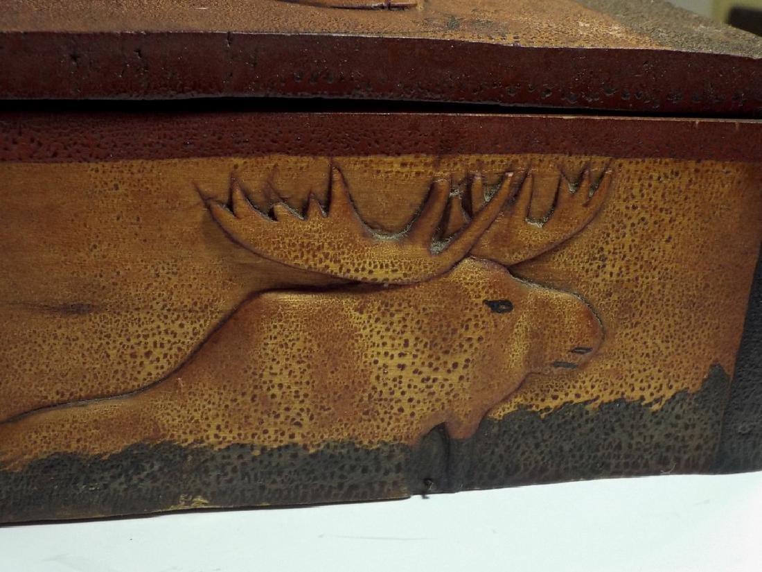 Folk Art Wooden Box w/ Cabin Theme - 6