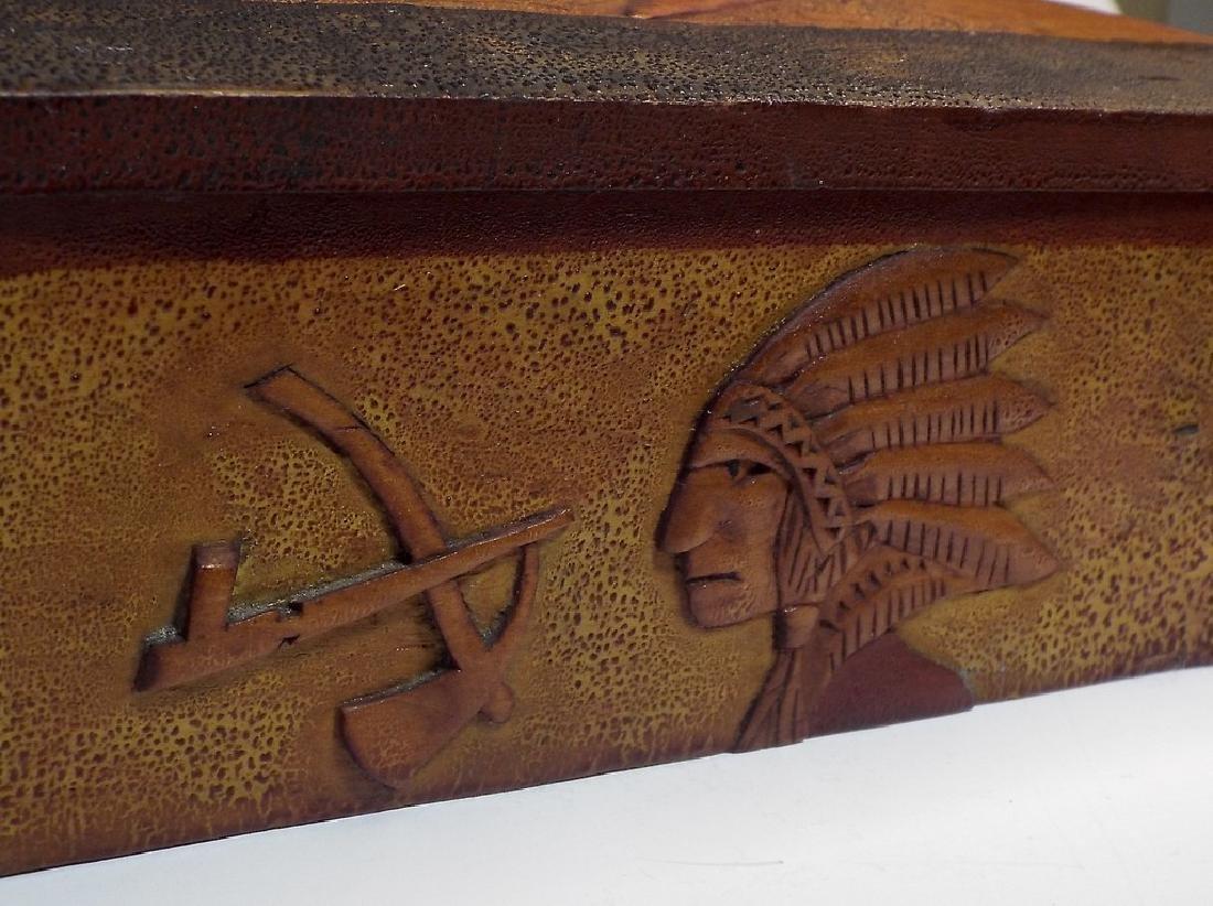 Folk Art Wooden Box w/ Cabin Theme - 7