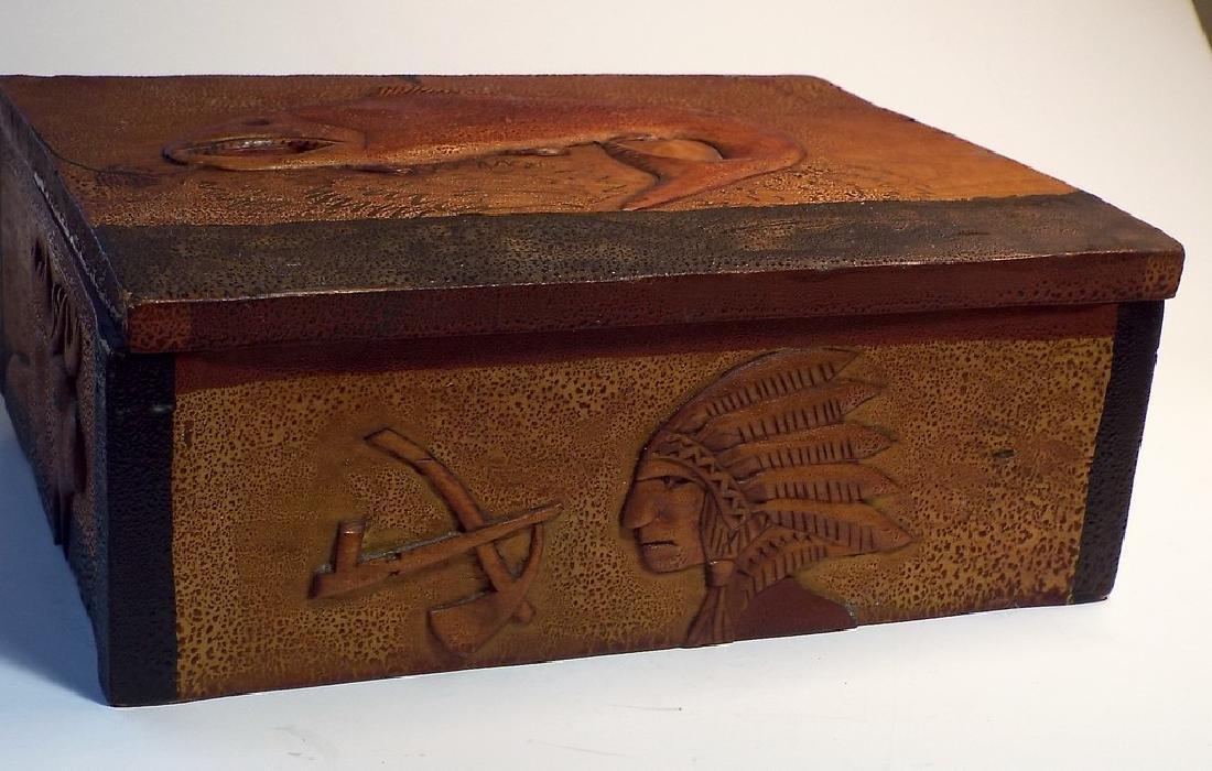 Folk Art Wooden Box w/ Cabin Theme - 8