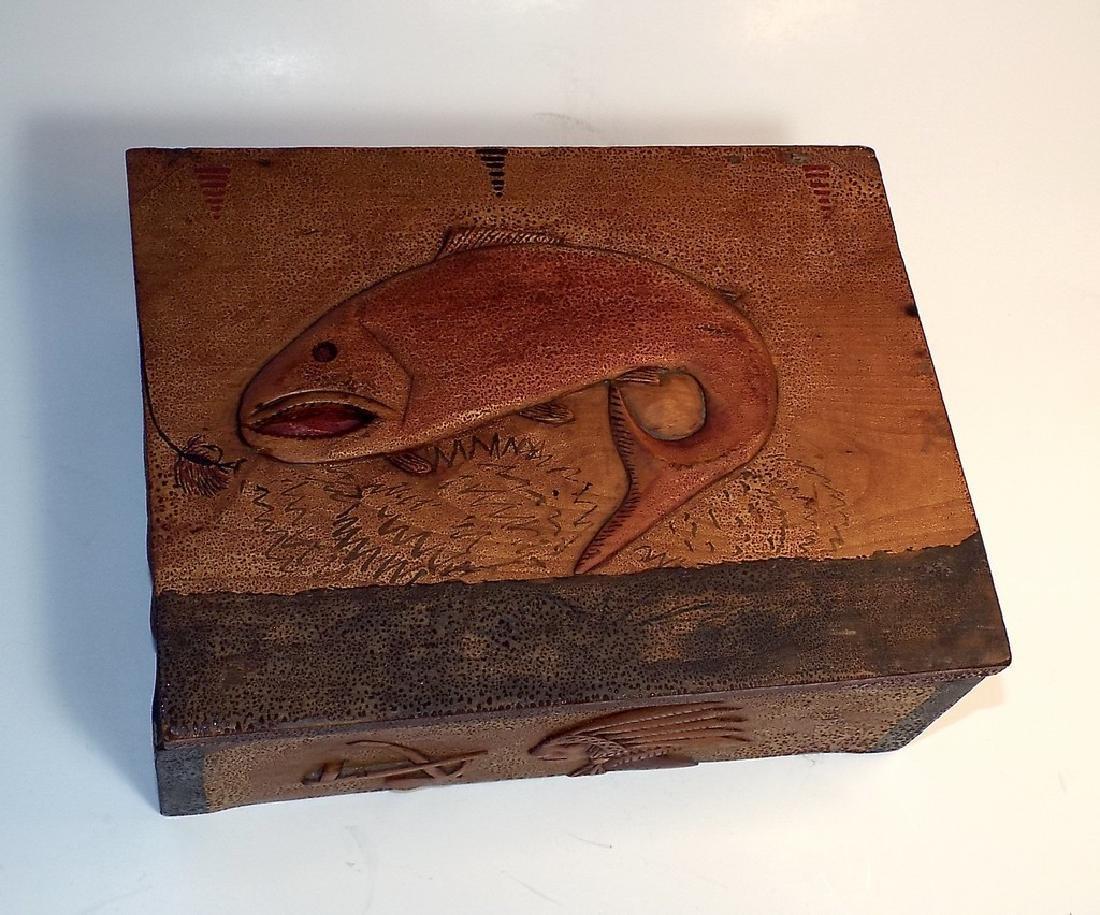Folk Art Wooden Box w/ Cabin Theme - 9
