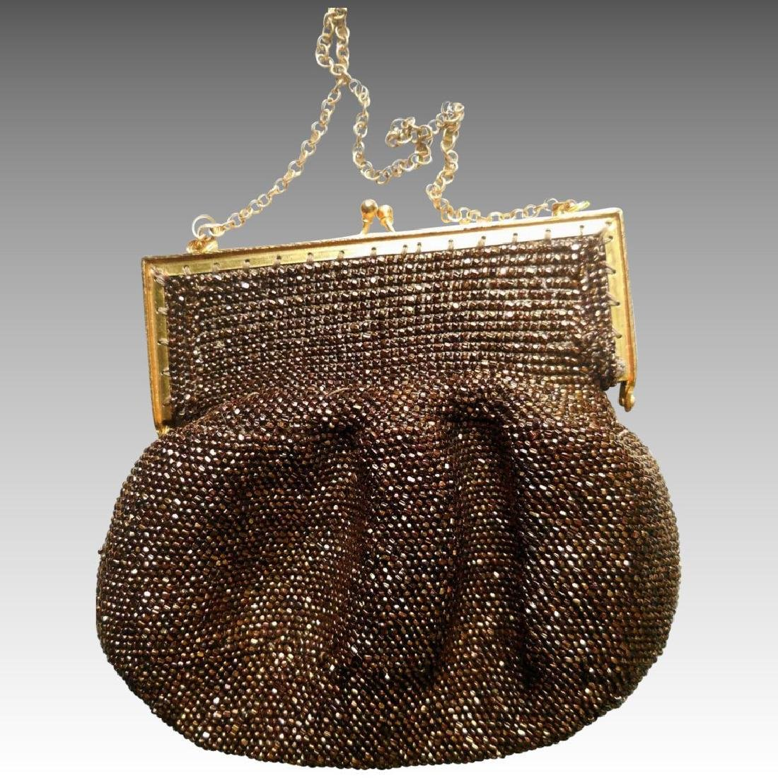 Vintage Copper-Beaded Purse