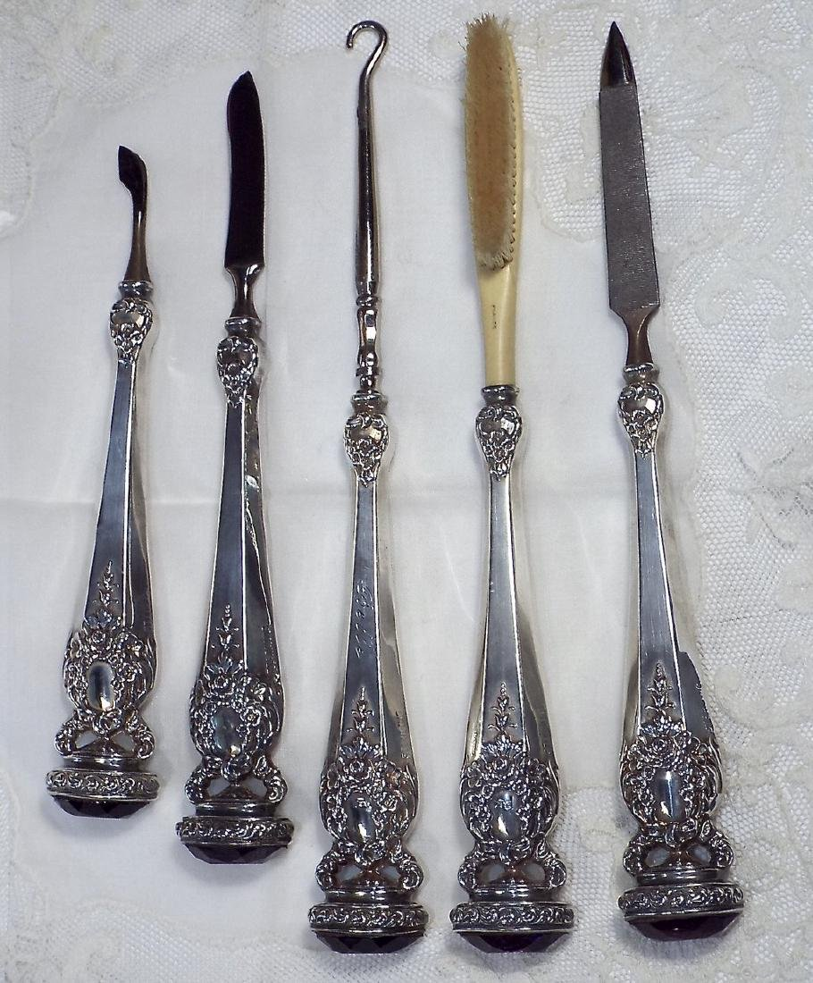 Antique Jeweled Sterling Silver Manicure Set