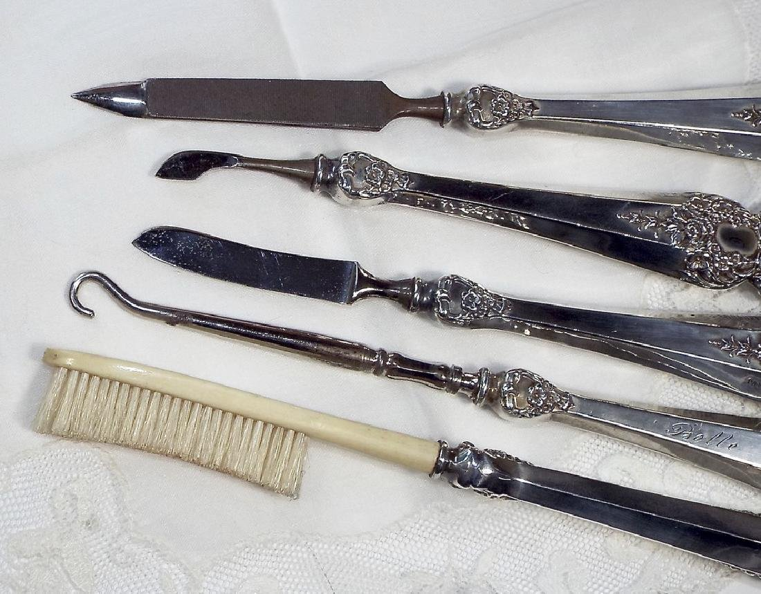 Antique Jeweled Sterling Silver Manicure Set - 2
