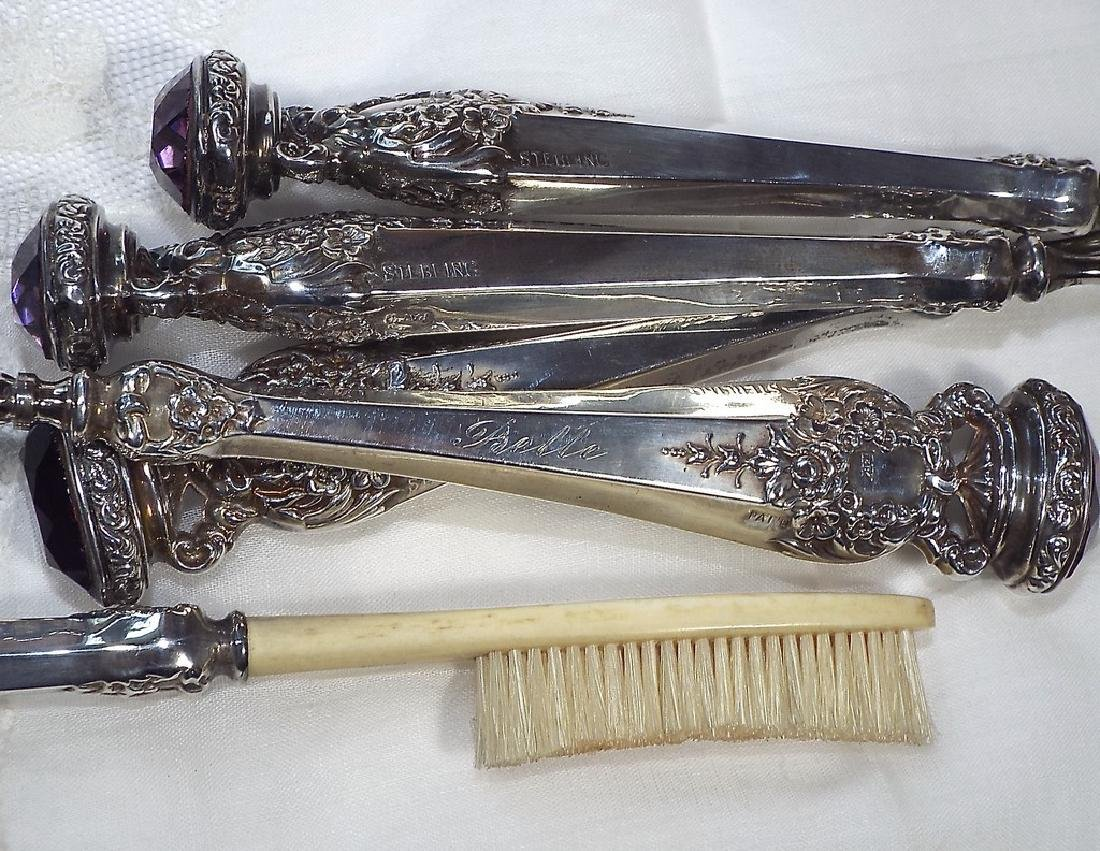 Antique Jeweled Sterling Silver Manicure Set - 3