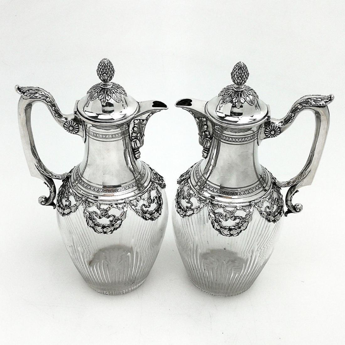 PAIR ANTIQUE GERMAN SOLID SILVER & GLASS CLARET JUGS /