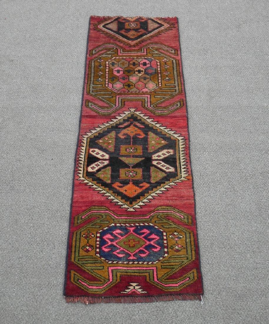 Semi Antique Wool on Wool Persian Hamadan Rug 6.8x2