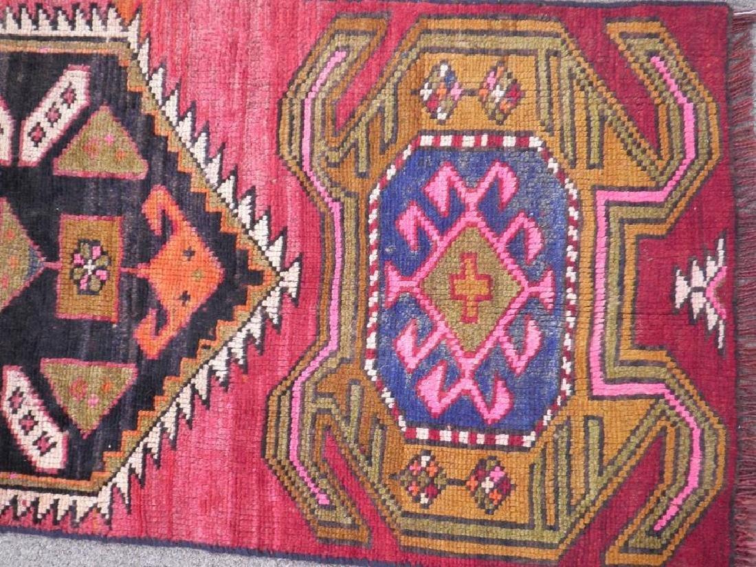 Semi Antique Wool on Wool Persian Hamadan Rug 6.8x2 - 3