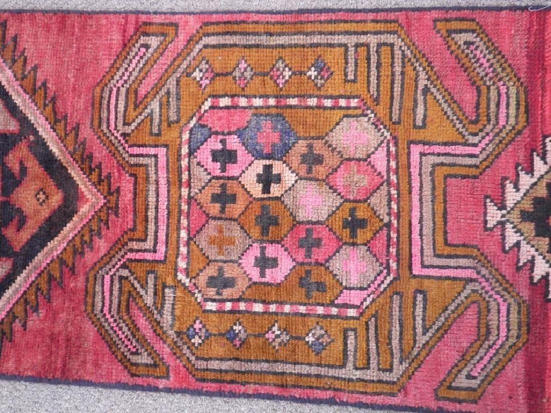 Semi Antique Wool on Wool Persian Hamadan Rug 6.8x2 - 5