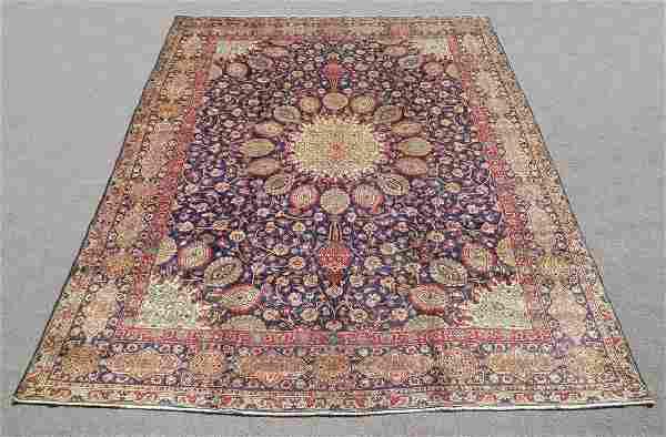 Hand Woven Semi Antique Persian Tabriz Rug 13.1x10