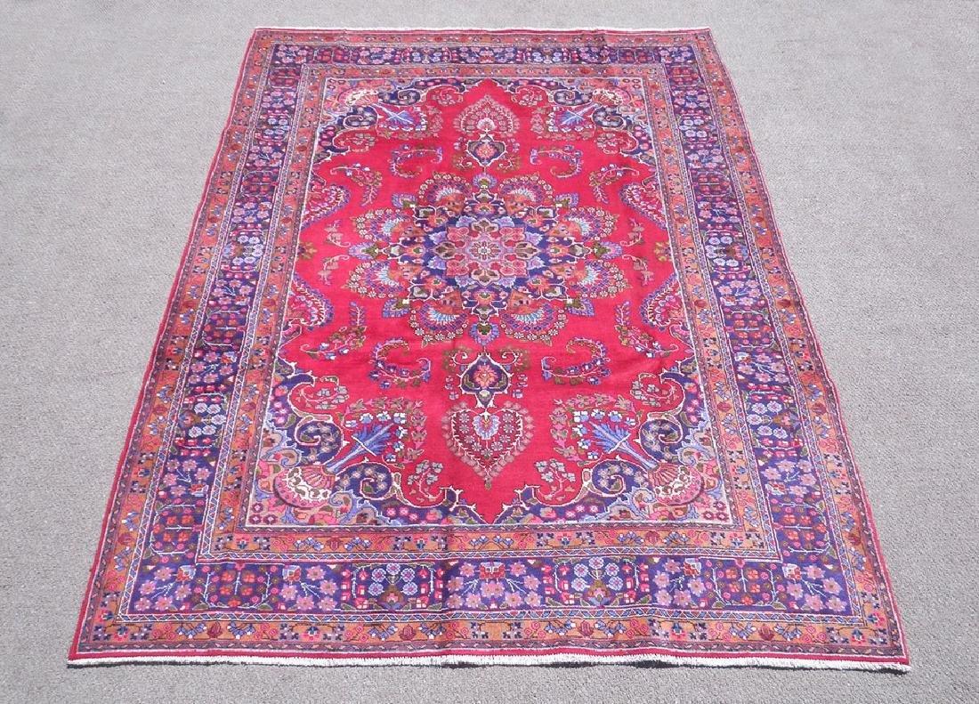 Hand Woven Semi Antique Persian Mashhad Rug 9.7x6.6