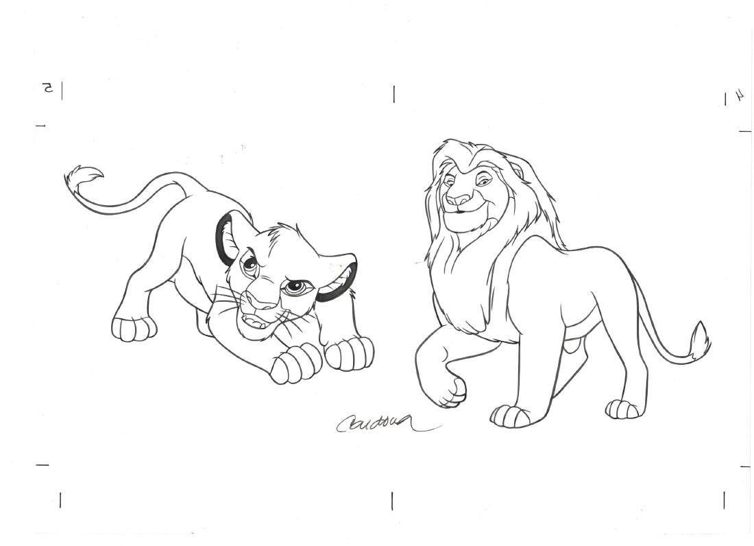 Simba & Mufasa - Original Production Page Indian Ink