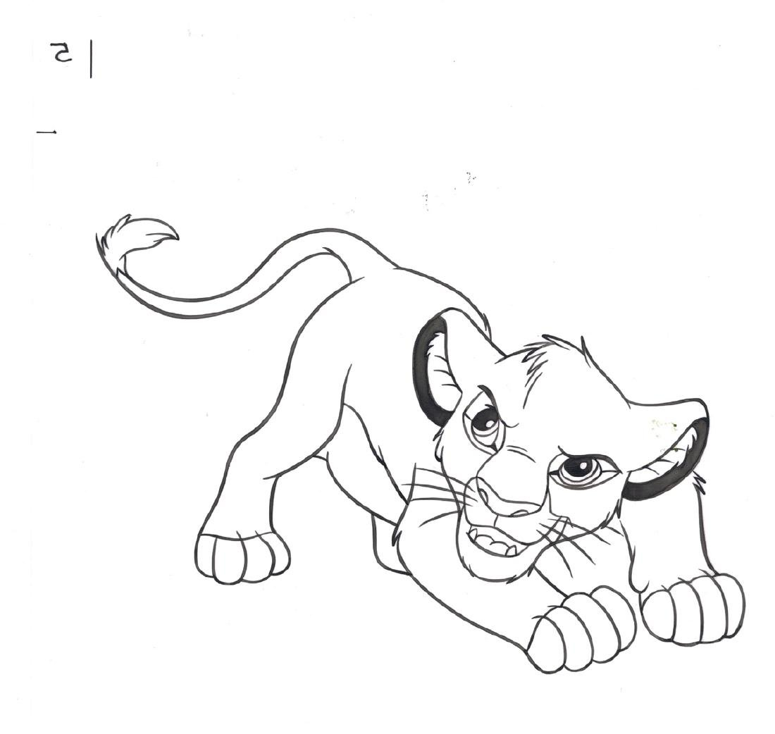 Simba & Mufasa - Original Production Page Indian Ink - 2