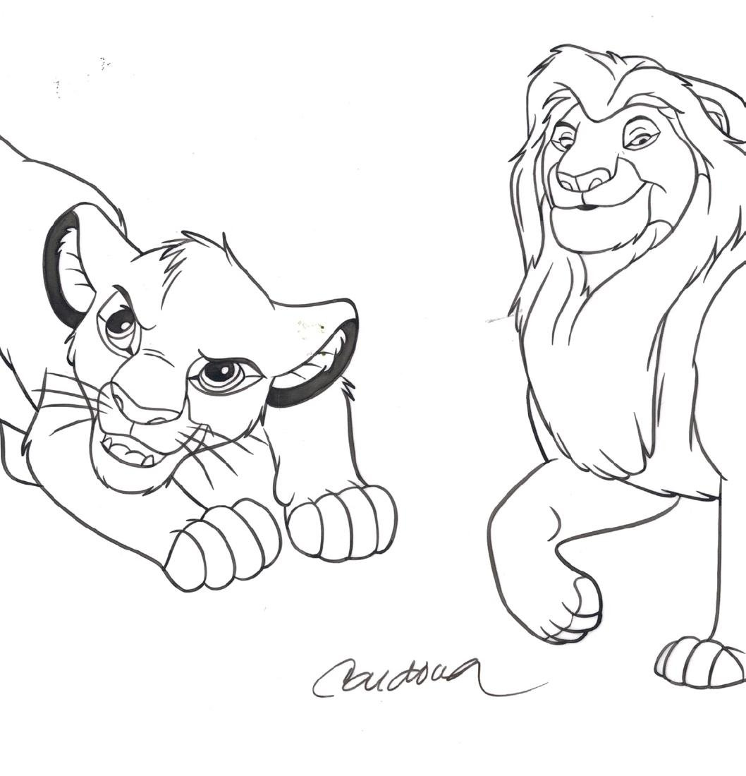 Simba & Mufasa - Original Production Page Indian Ink - 6