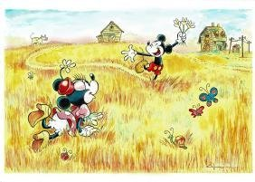 Mickey & Minnie Mouse - Van Gogh Acrylic, Oil,Varnish