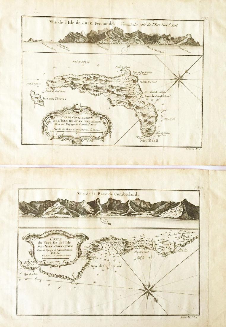 Bellin: Two Maps of Robinson Crusoe Island, Chile