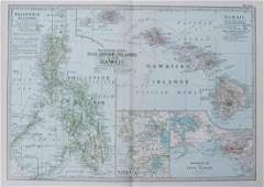 1905 Map of Hawaii and the Philippines -- The