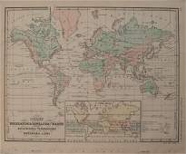 1874 McNally Chart of World Mountain Ranges and Rain