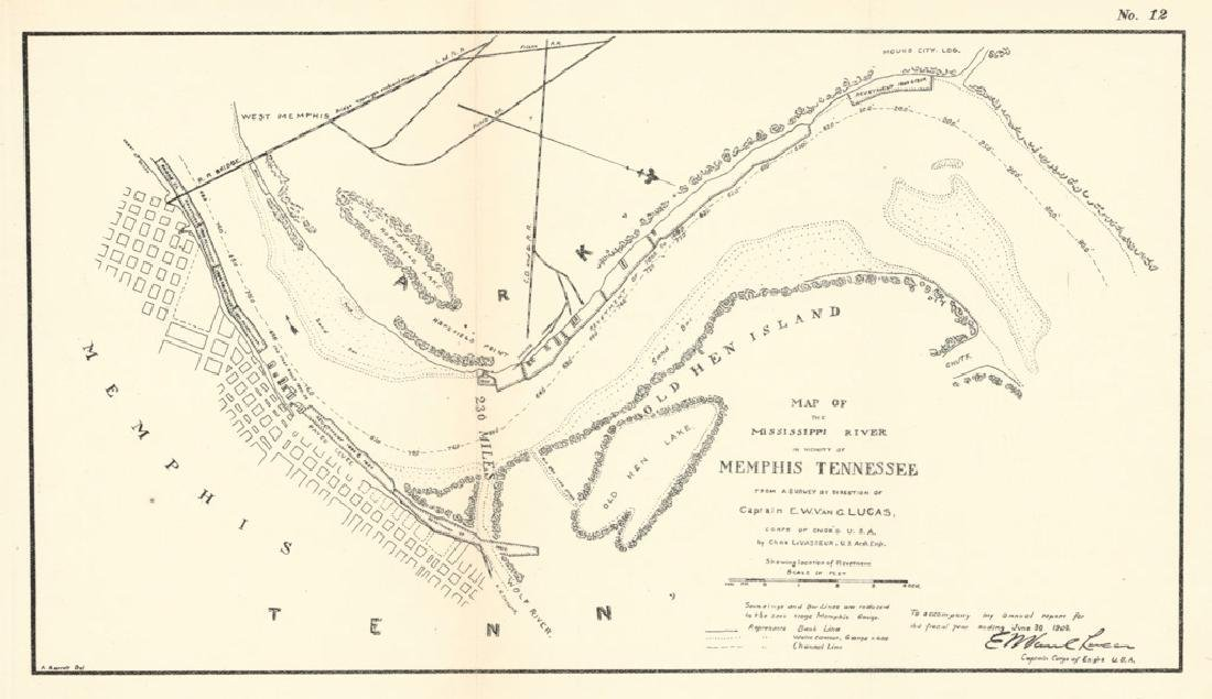 Map of the Mississippi River in Vicinity of Memphis