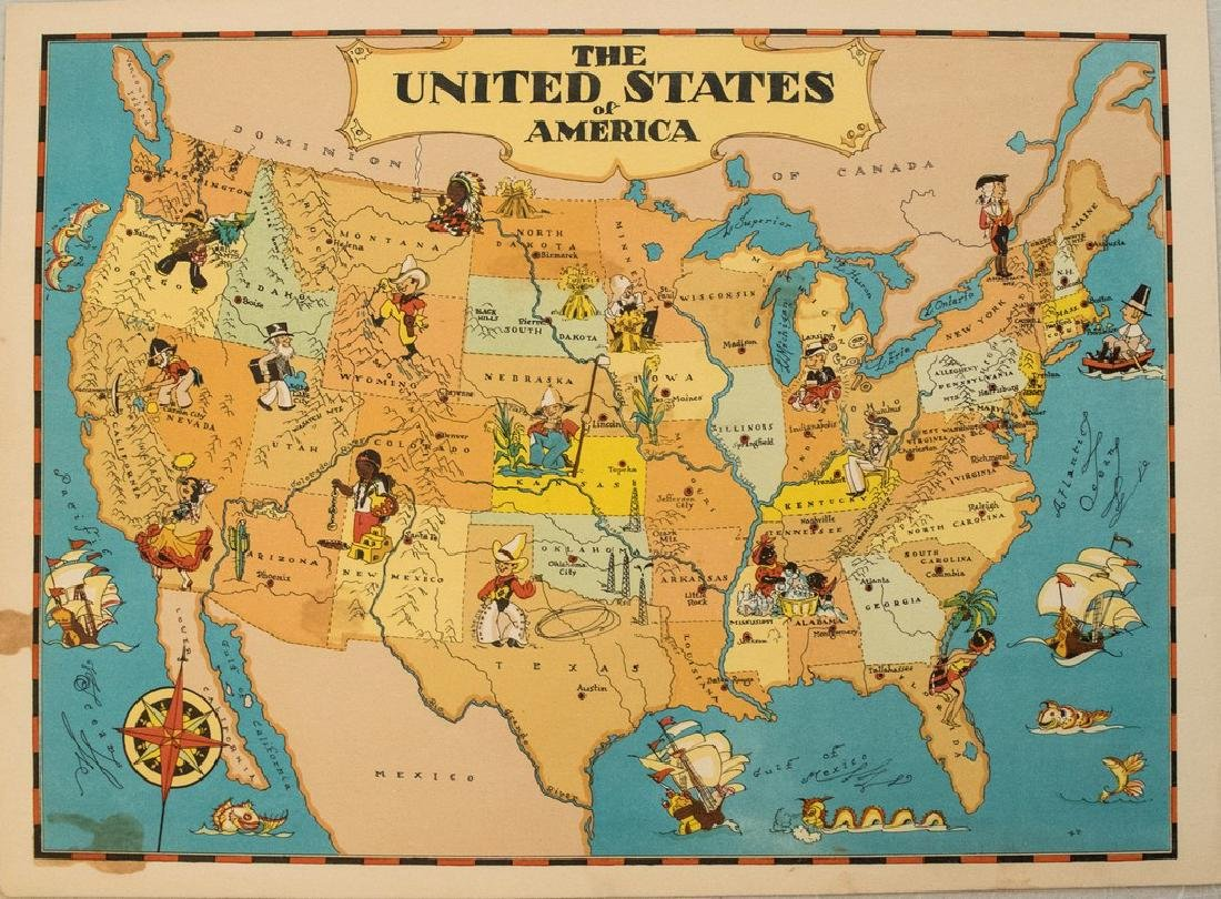 1938 R Taylor White Pictorial Map of the United States