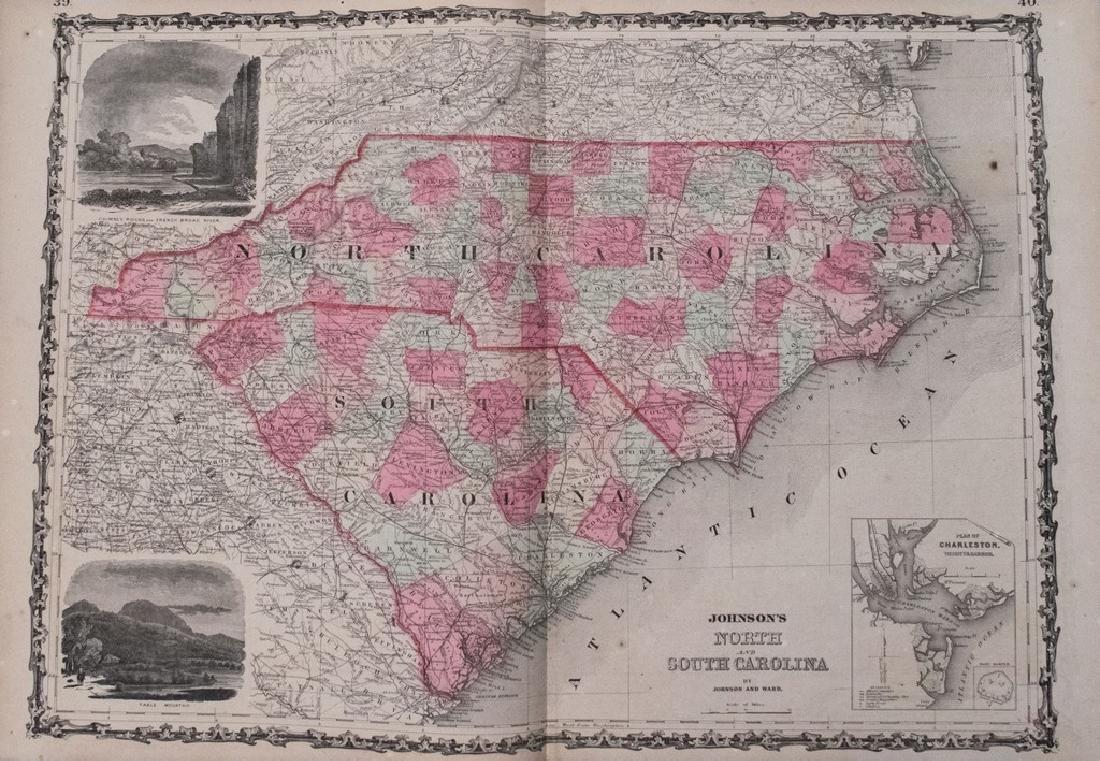 1864 Johnson Map of North and South Carolina --
