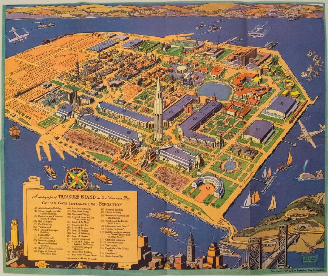 1939 White Pictorial map of San Francisco's Treasure
