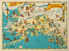 1938 R Taylor White Pictorial Map of Alaska --