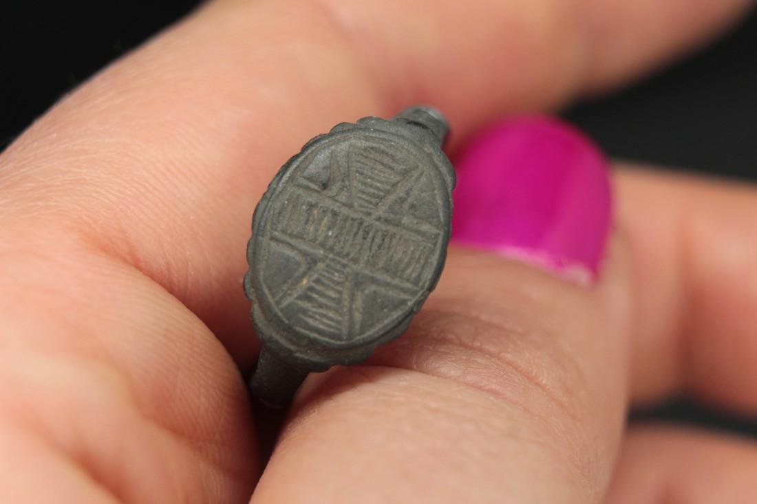 Post-medieval Cossack Bronze Ring With Cross - 5