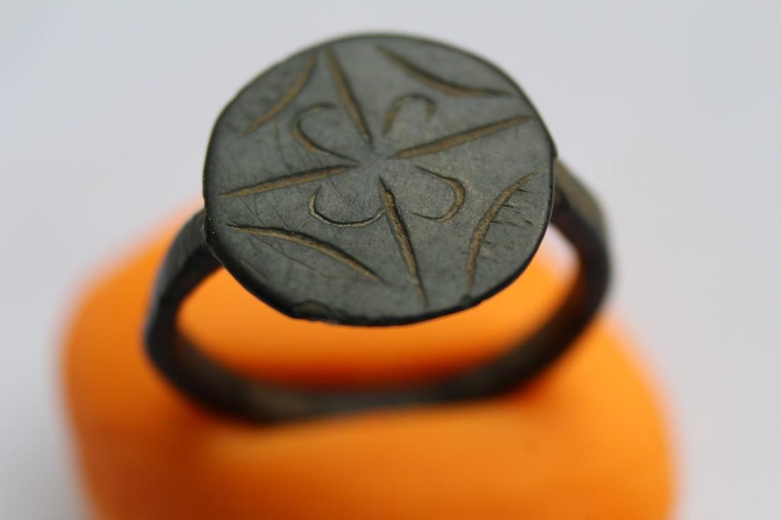 Medieval Bronze Ring with Flower & Star of Bethlehem