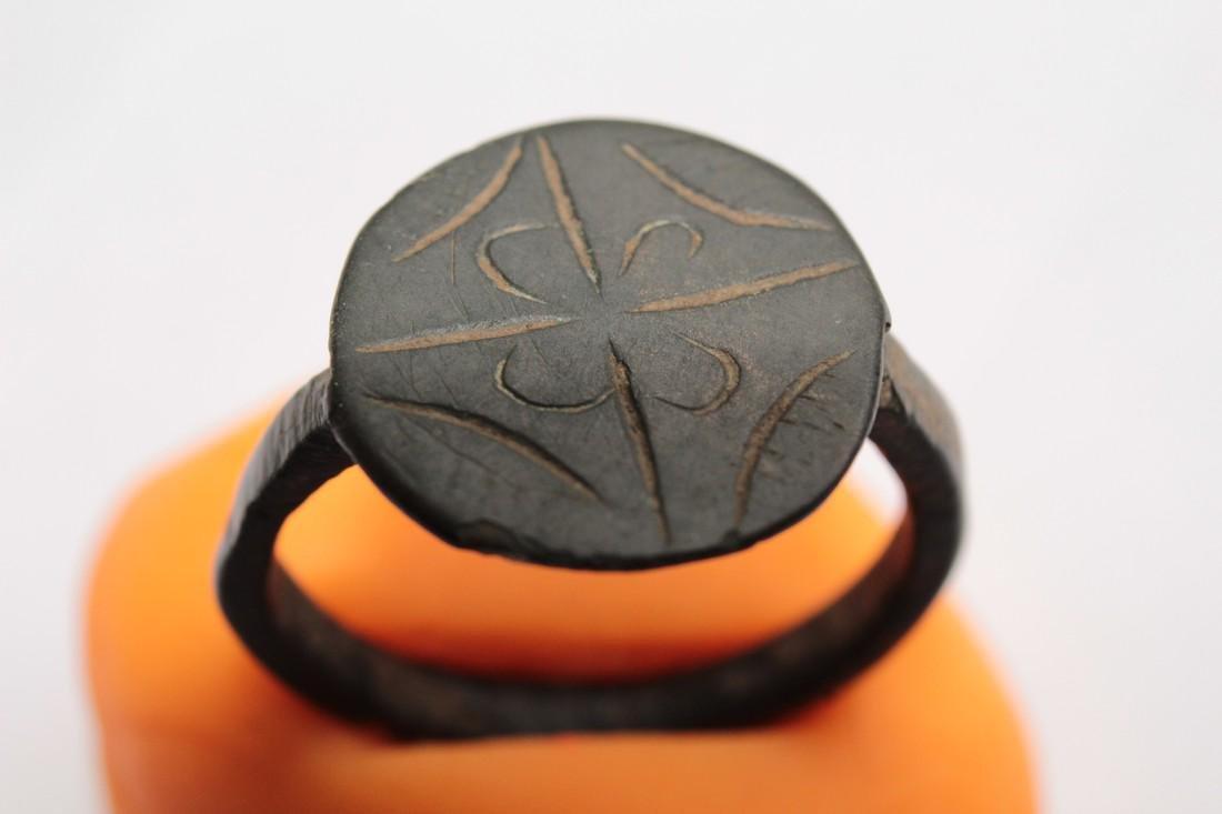 Medieval Bronze Ring with Flower & Star of Bethlehem - 8
