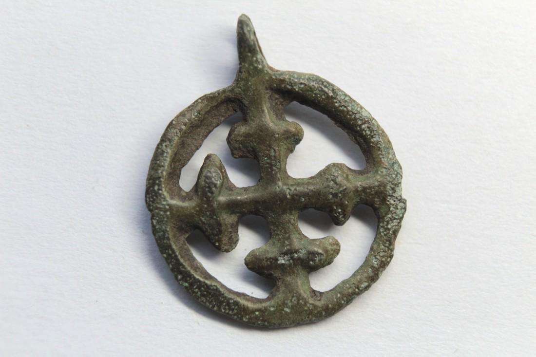 Medieval Orthodox Bronze Pendant With Cross