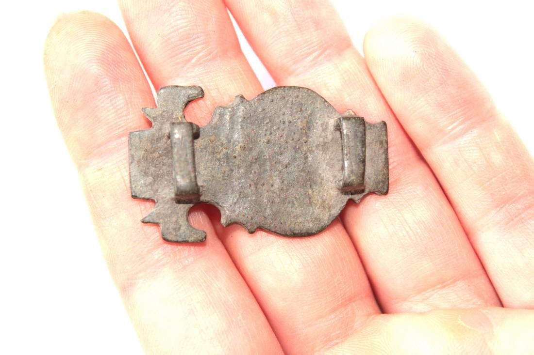 Medieval Bronze Brooch With Horse Heads and Solar Sun - 2