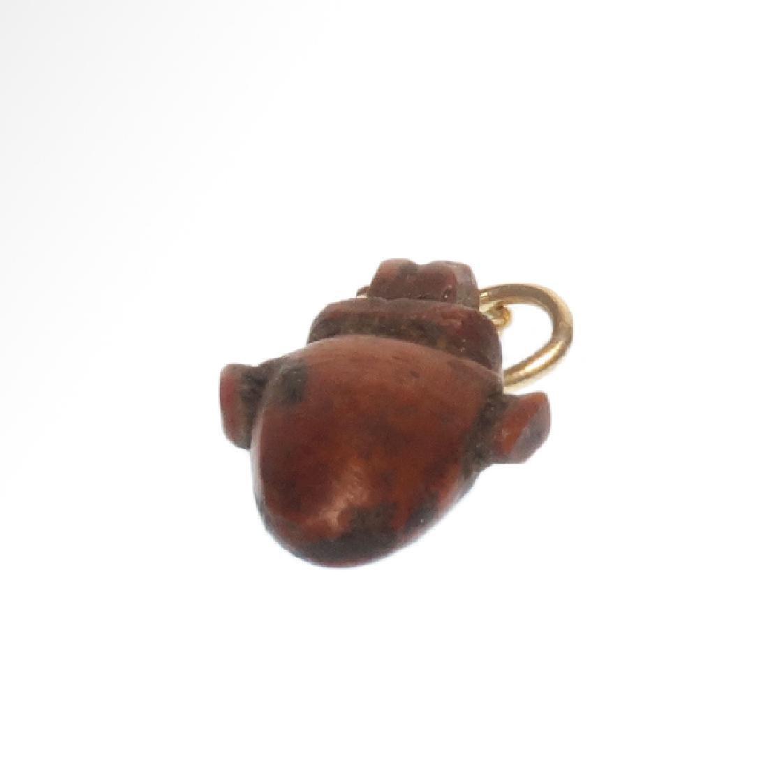 Egyptian Red Jasper Heart Amulet, New Kingdom, c. - 4