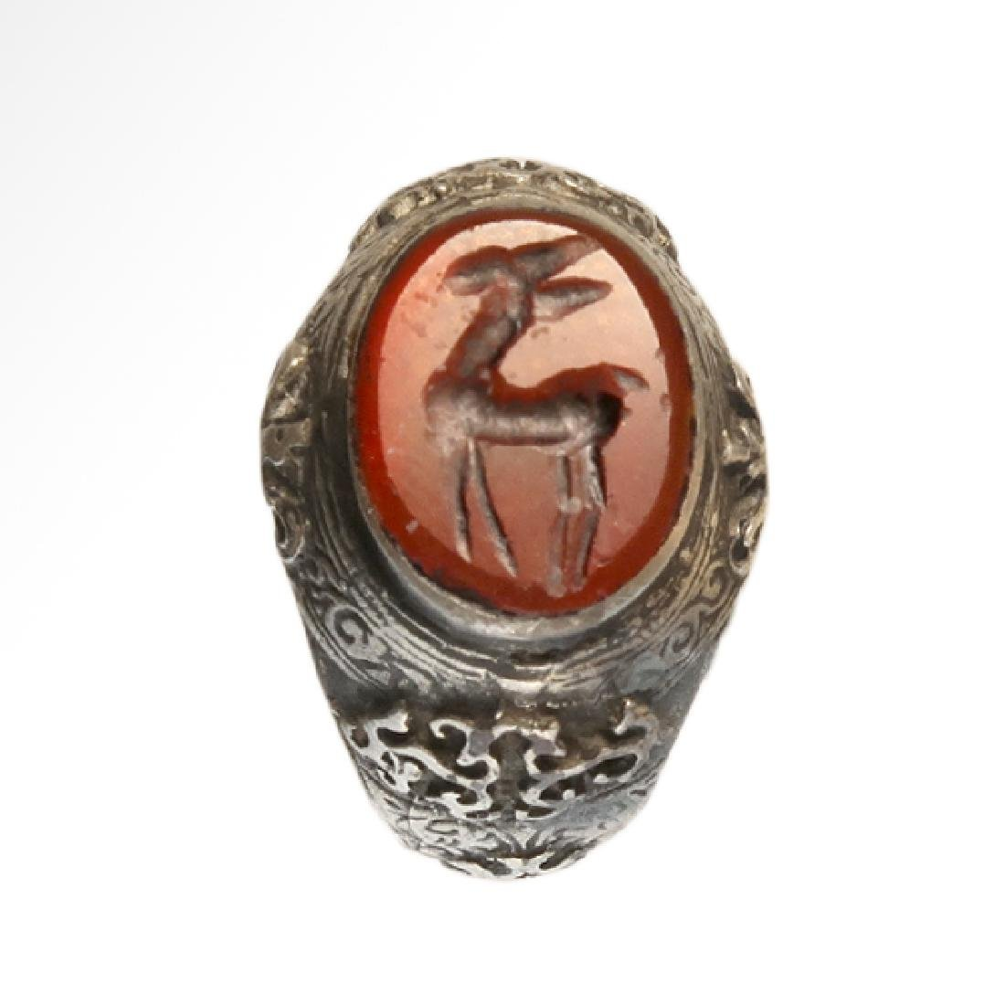 Medieval Near Eastern Silver Ring with Stag Cornelian