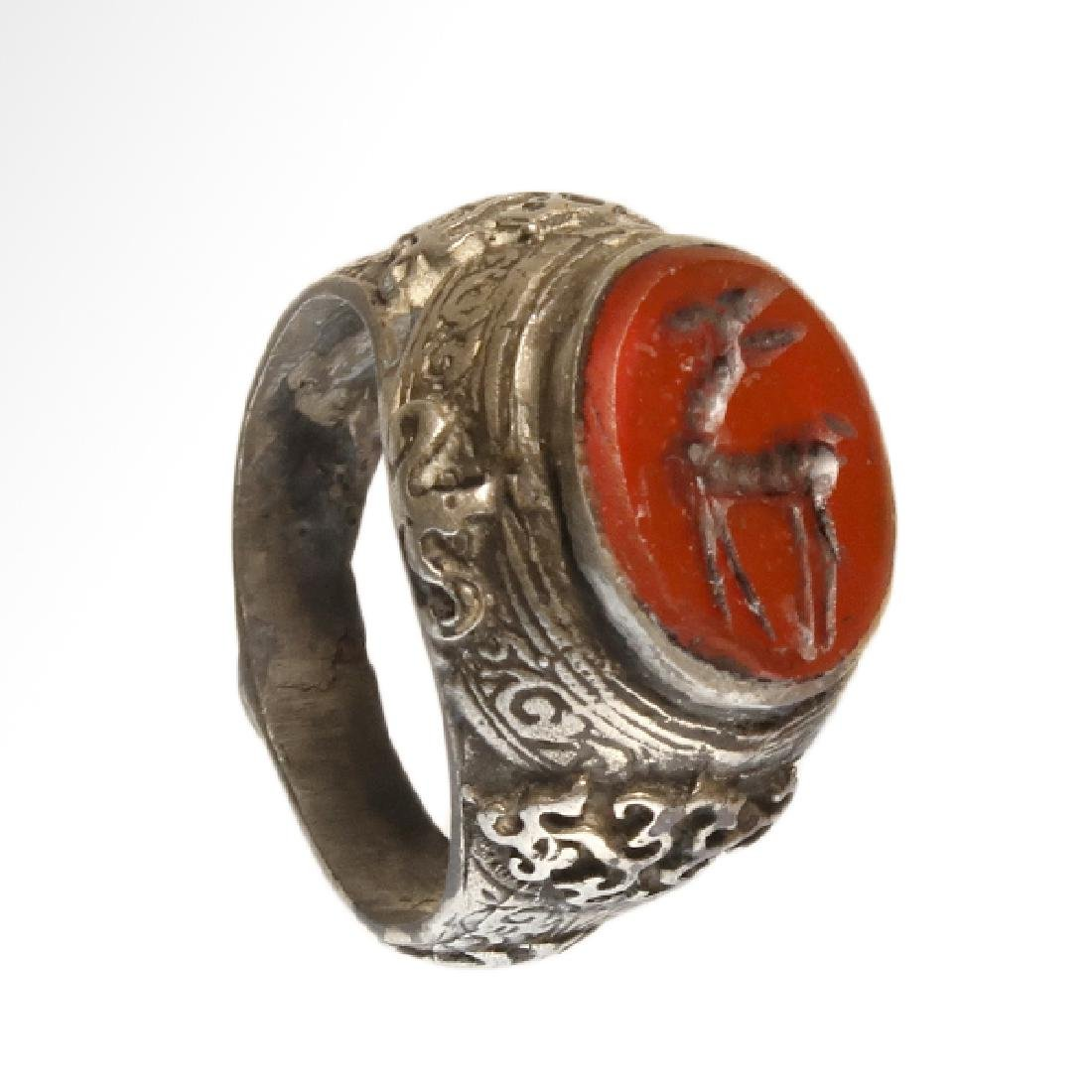 Medieval Near Eastern Silver Ring with Stag Cornelian - 2