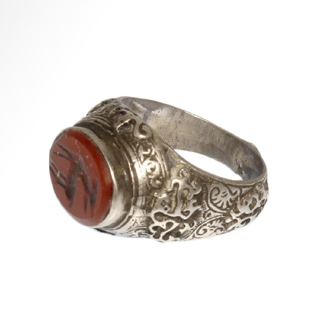 Medieval Near Eastern Silver Ring with Stag Cornelian - 3