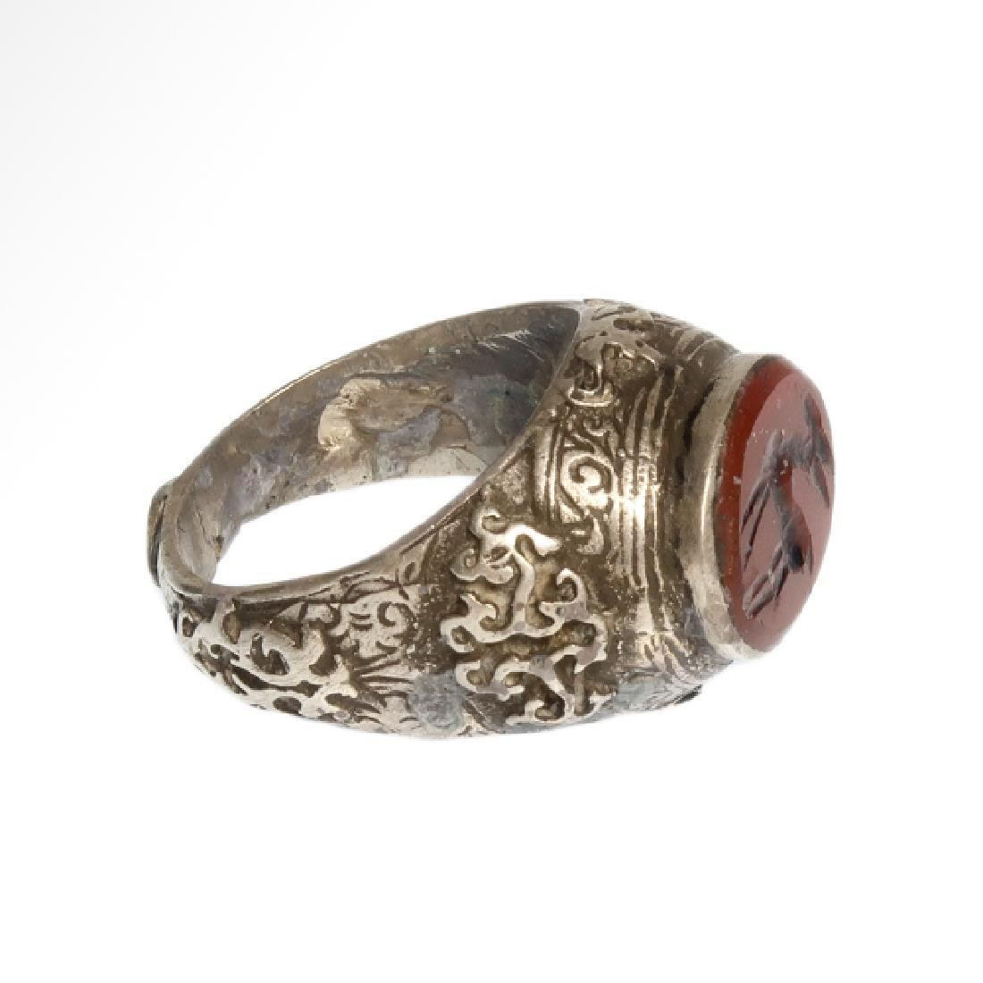 Medieval Near Eastern Silver Ring with Stag Cornelian - 4