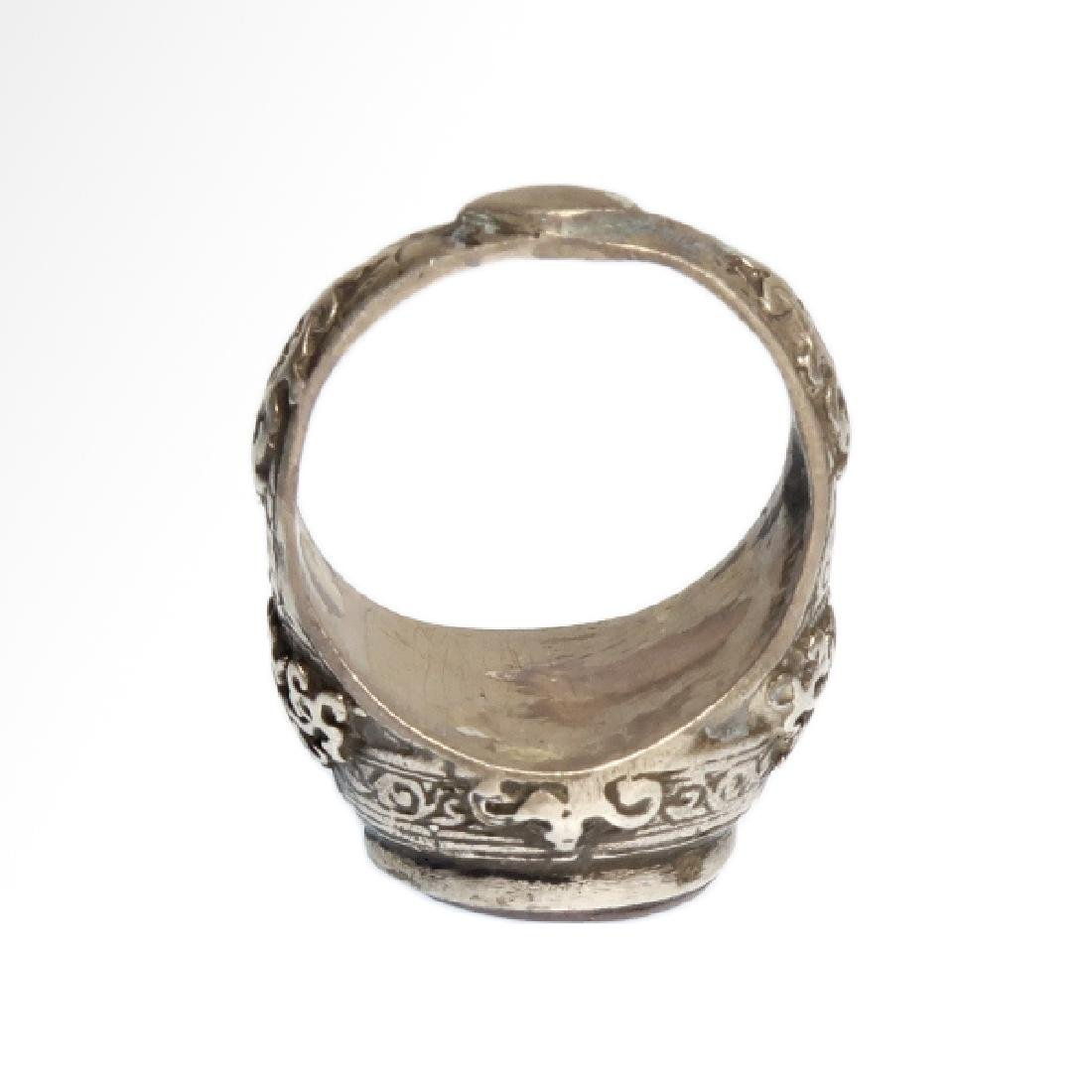 Medieval Near Eastern Silver Ring with Stag Cornelian - 6
