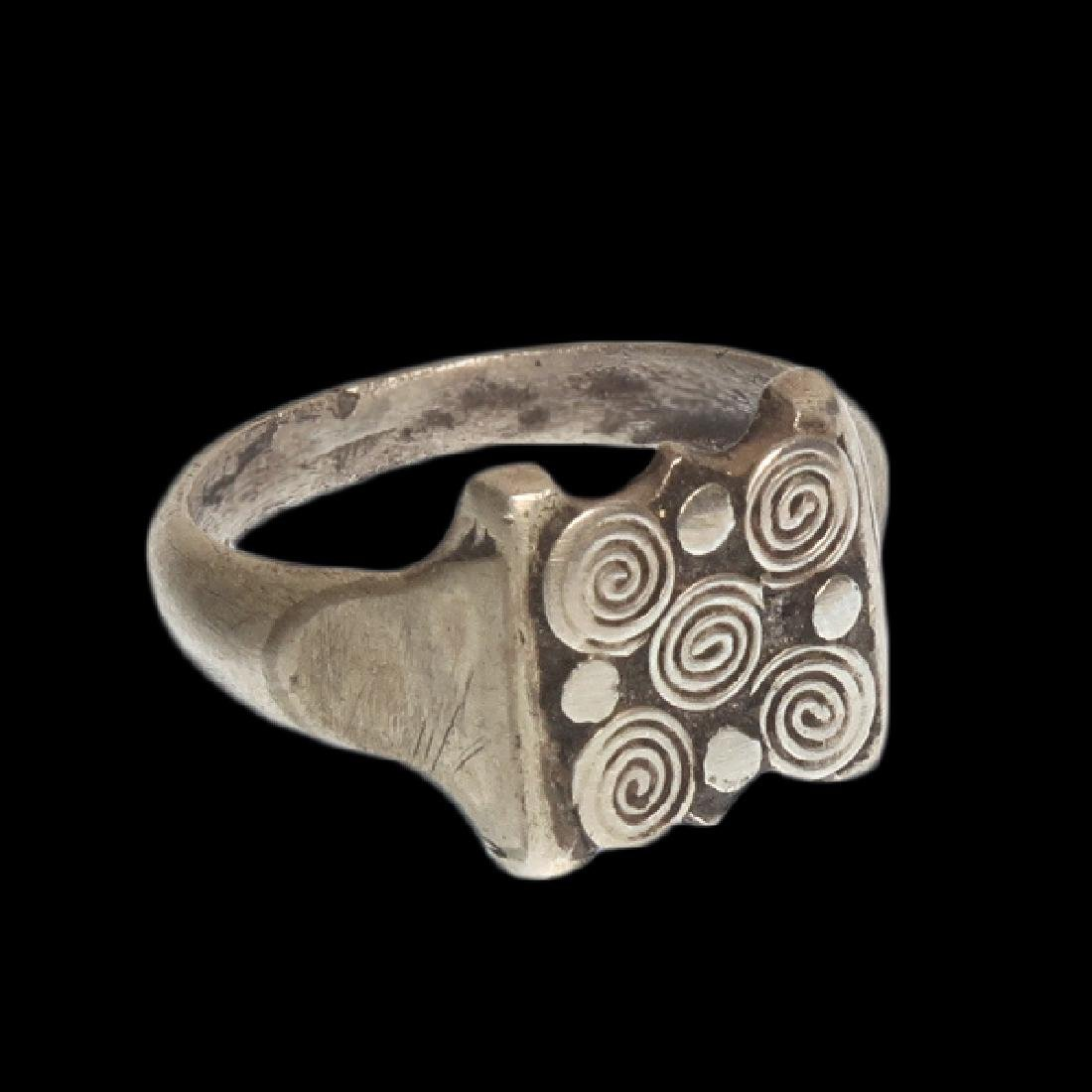 Viking Silver Ring with Spiral Patterns, c. 10th