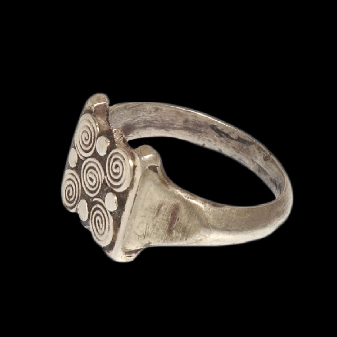 Viking Silver Ring with Spiral Patterns, c. 10th - 4