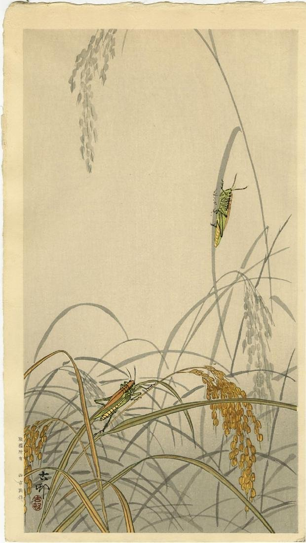 Ohara Koson Woodblock Grasshoppers on Rice