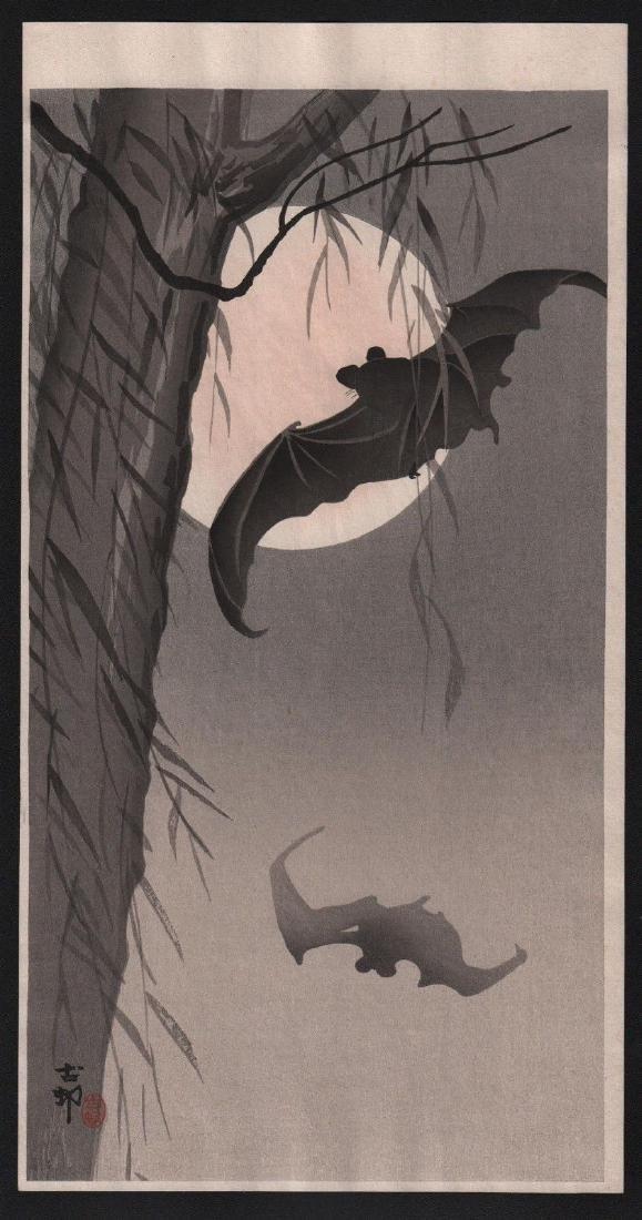 Ohara Koson Woodblock Bats Before Full Moon