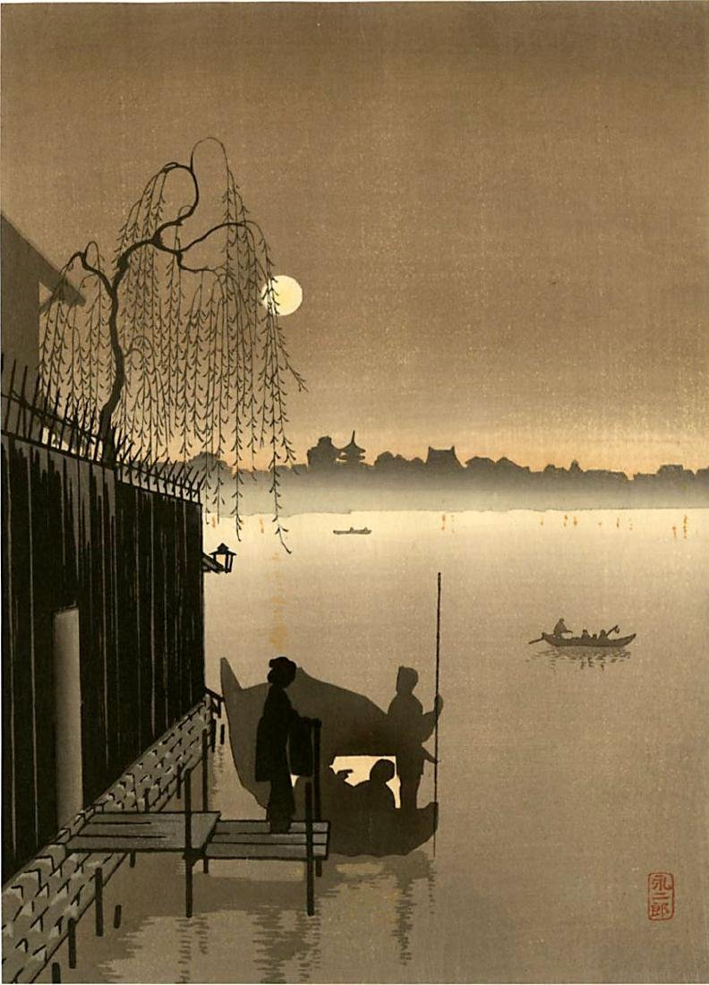 Eijiro Kobayashi Woodblock Taking the Evening Cool
